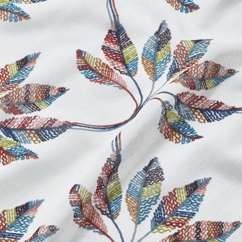 刺繍のような立体感の羽根モチーフプリントデザインシアーカーテン【ボイル チャヌ MIX】ミックス