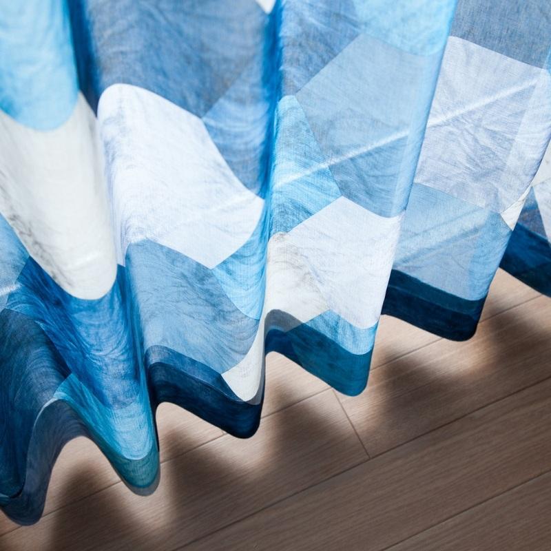 六角形プリント・ララカーテンオリジナルデザイン薄地カーテン<ロク>【ボイル ROKU BL】ブルー