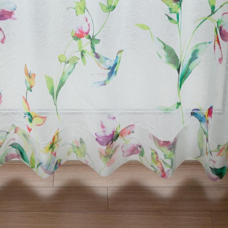 <in the garden>草花と鳥のボタニカルプリントデザインシアーカーテン【ボイル トリハナ MIX】ミックス