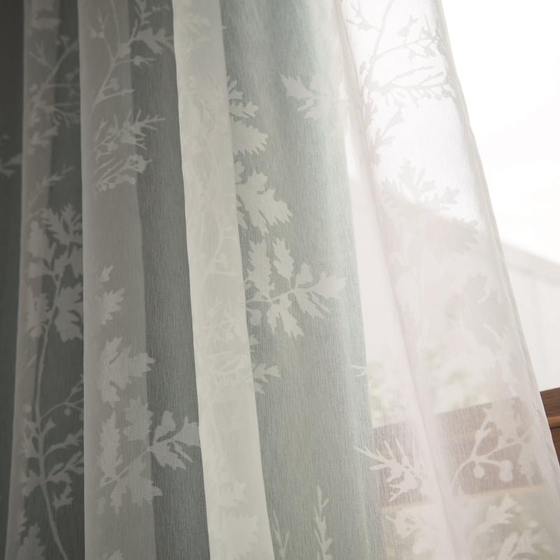 <防炎>柊柄のオパールプリントシアーカーテン【SIOPボイルヒイラギ WH】ホワイト S7614*