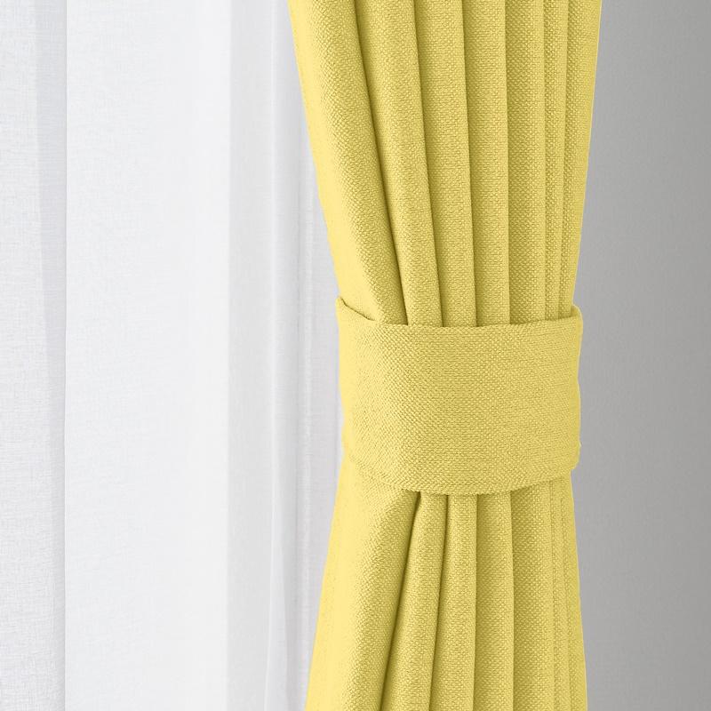 光を通す(非遮光)・多色展開・ベーシックな無地カーテン<黄色�>【アトモ YGN】イエローグリーン