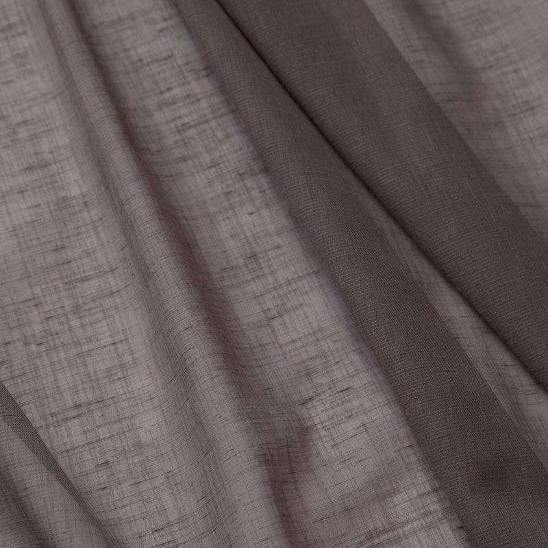 <防炎>落ち着いたダークブラウン。ナチュラル素材感の無地シアーカーテン【SIボイルシャリアサライク BR】ブラウン  S3591