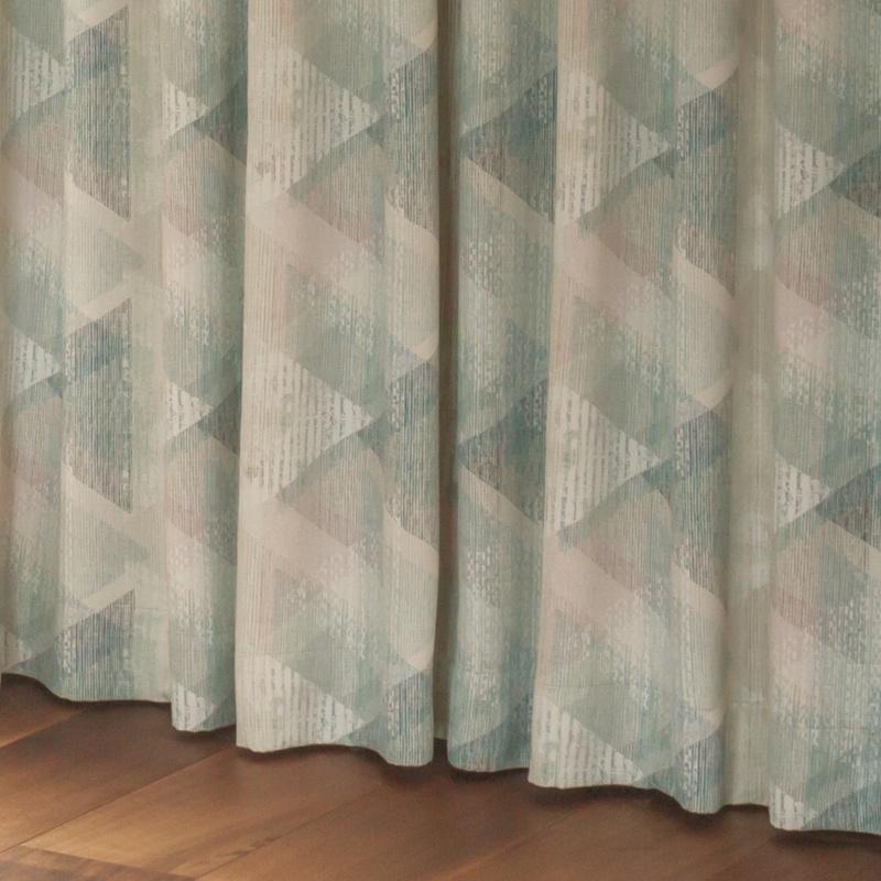 ●新商品8月末まで10%オフ<防炎・遮光・涼しや遮熱>大きなダイヤ&人気のかすれ調デザイン。涼しや使いの遮光2級カーテン【SI セリオン BL】ブルー S3390