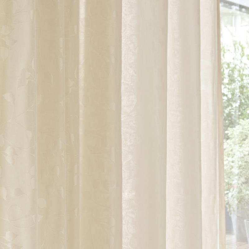 <防炎>多機能(遮像・UVカット・遮熱)&リーフ柄シアー(薄地)カーテン【SIKボイル シャネツプラスライト リーフ BE】ベージュ S4512