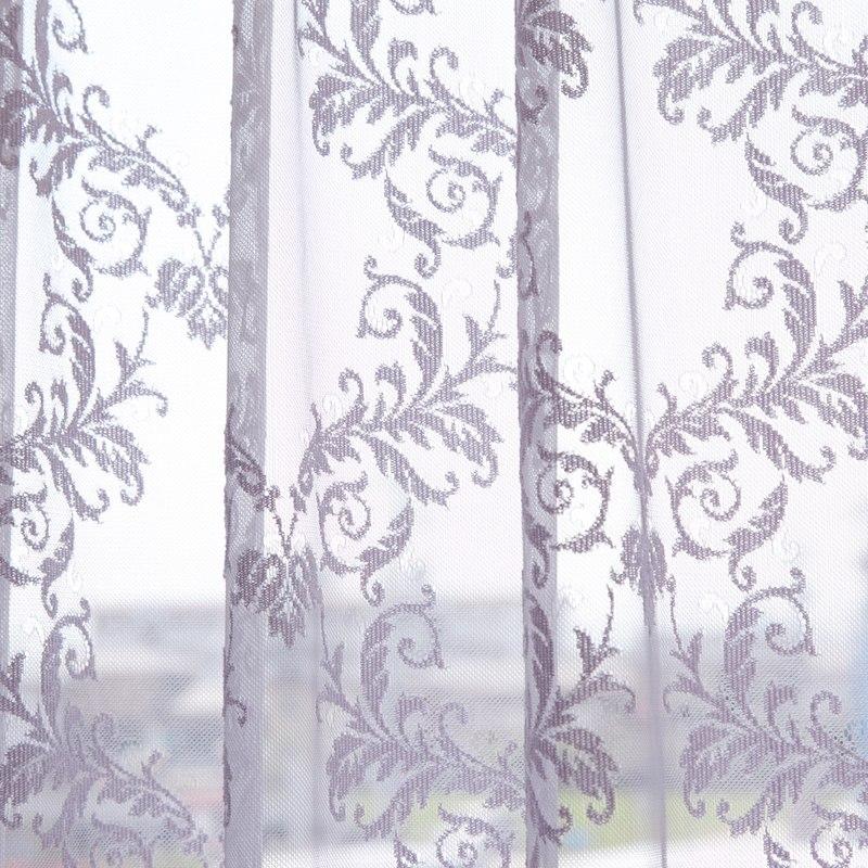 <防炎>エレガントなダマスクモチーフの繊細な編みレースカーテン【グレース ダマッセ PU】パープル