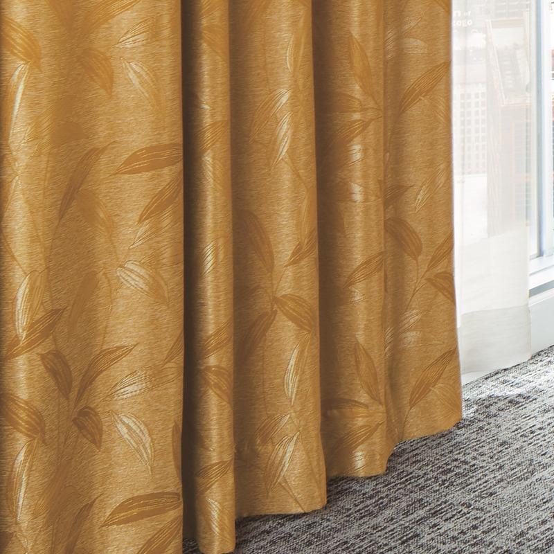 ●新商品9月末まで10%オフ<防炎>輝く黄金色のような色あい。笹の葉柄の遮光2級カーテン【SI 玉笹(たまざさ) YE】イエロー S3411