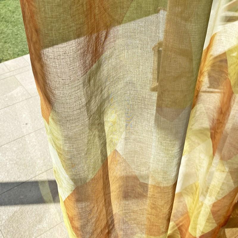 六角形プリント・ララカーテンオリジナルデザイン薄地カーテン<ロク>【ボイル ROKU YE】イエロー