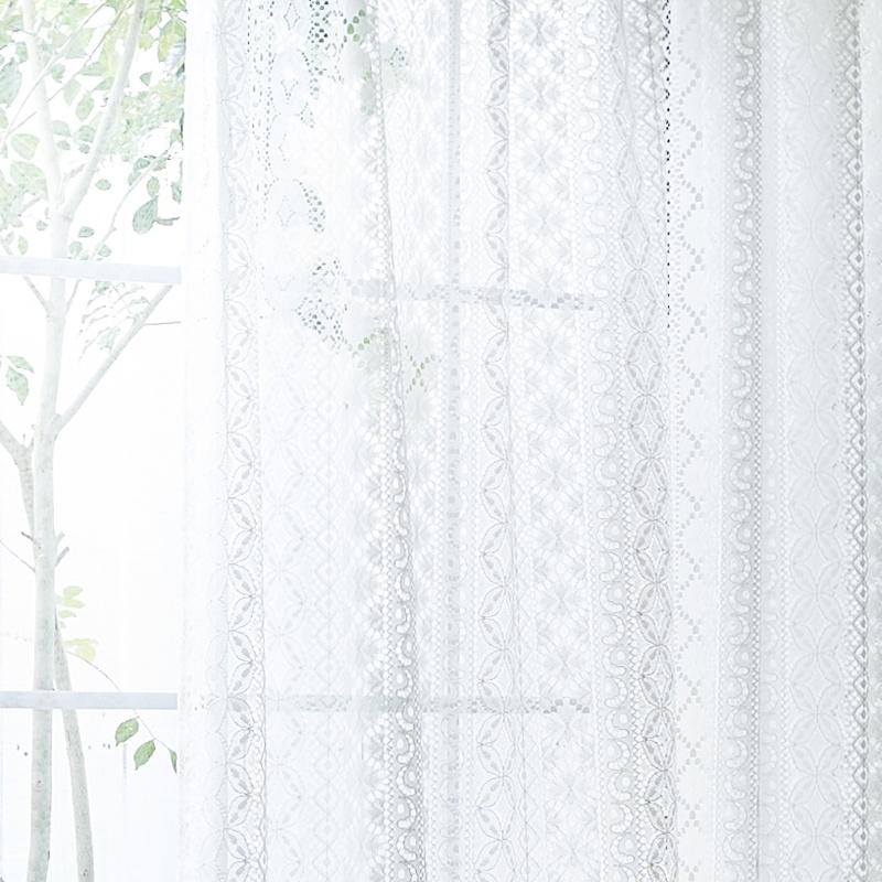 透過を楽しむレースモチーフのデザインレースカーテン【グレース チューレ IV】アイボリー