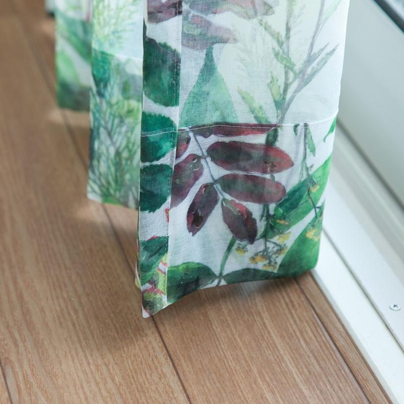 <ボタニカル>植物標本のようなボタニカルデザインシアーカーテン【ボイル グリーリウム GN】グリーン