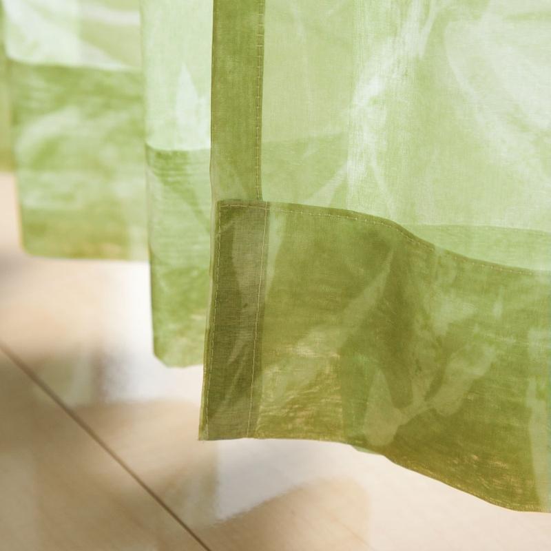 in the garden<ボタニカル> リーフ柄シルエットのデザインシアーカーテン【ボイル リーフフラ GN】グリーン