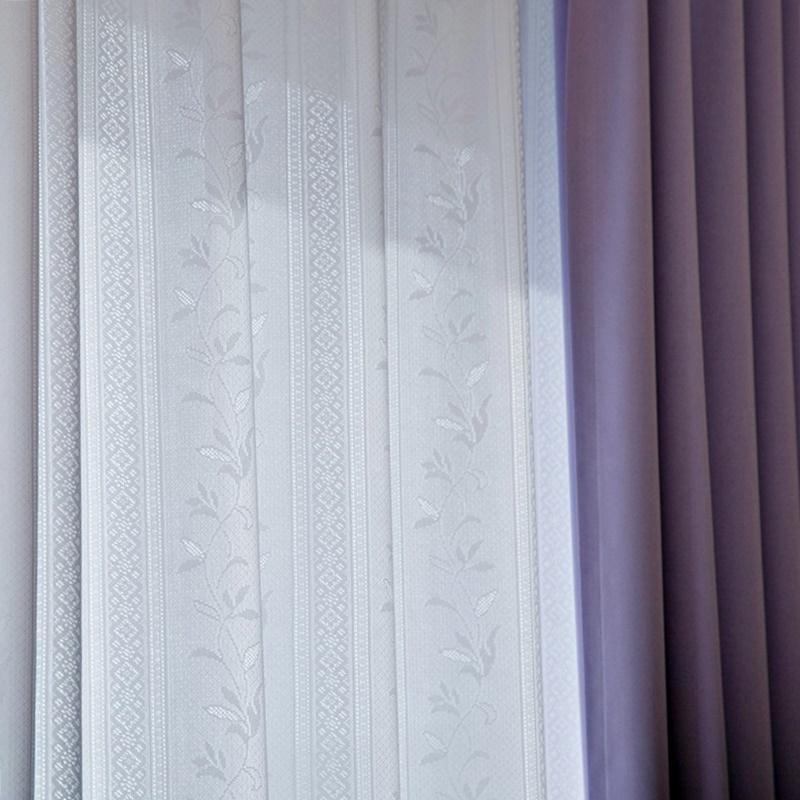 <防炎・多機能>リーフ&ストライプ|昼夜ミラー・UVカット90%以上・省エネレースカーテン【UV24スター ストライプリーフ WH】ホワイト