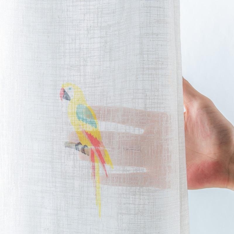 オトナもOKなカラフル鳥柄。デザインシアーカーテン【ボイル バードバード MIX】ミックス