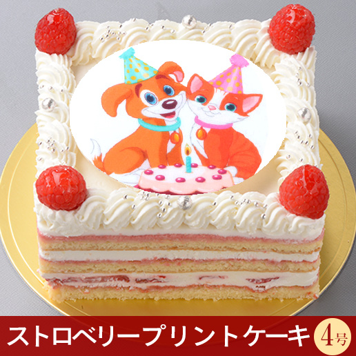 《キャラクタープリントケーキ》スクエアストロベリーショートケーキ 4号 5号