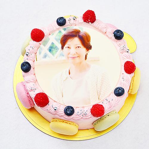 《還暦のお祝い用》マカロン 写真ケーキ 4号〜10号