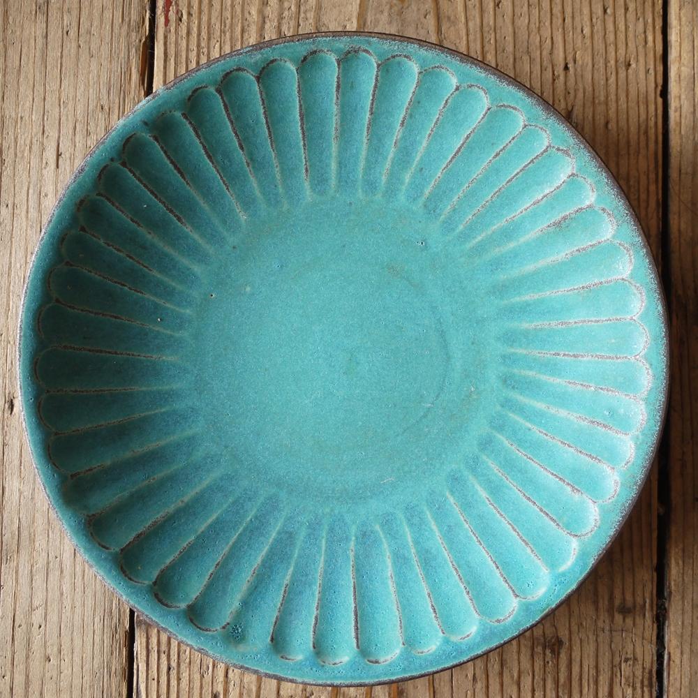 シャビーターコイズ しのぎ7寸皿/わかさま陶芸