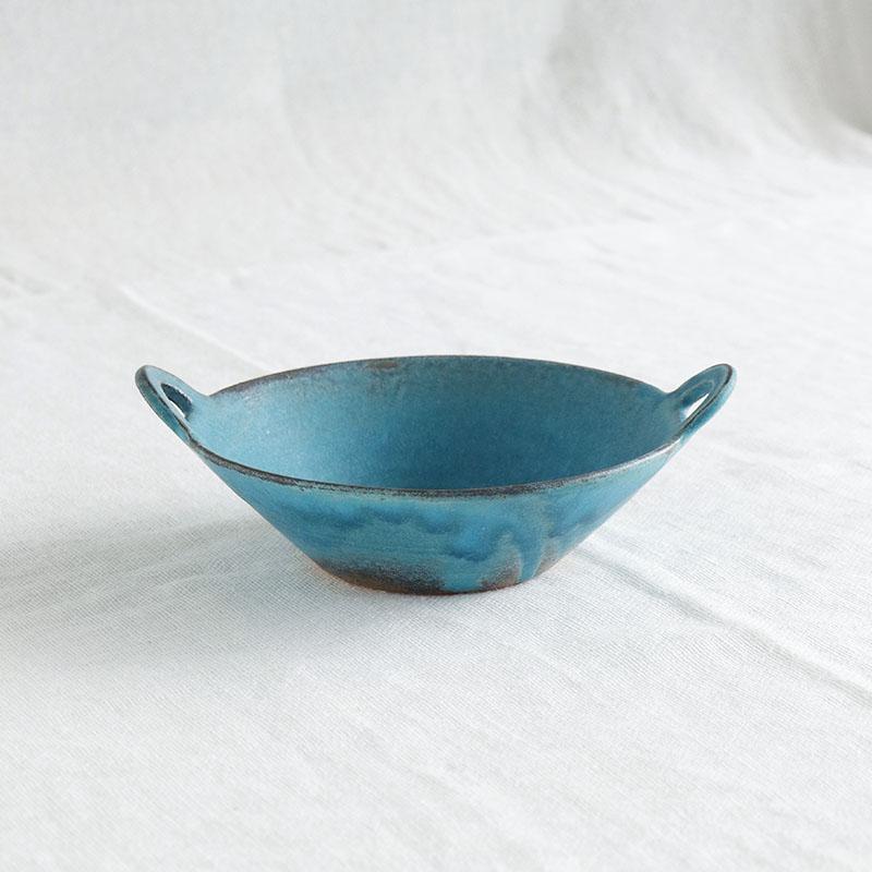 シャビーターコイズ 手付朝顔鉢/わかさま陶芸