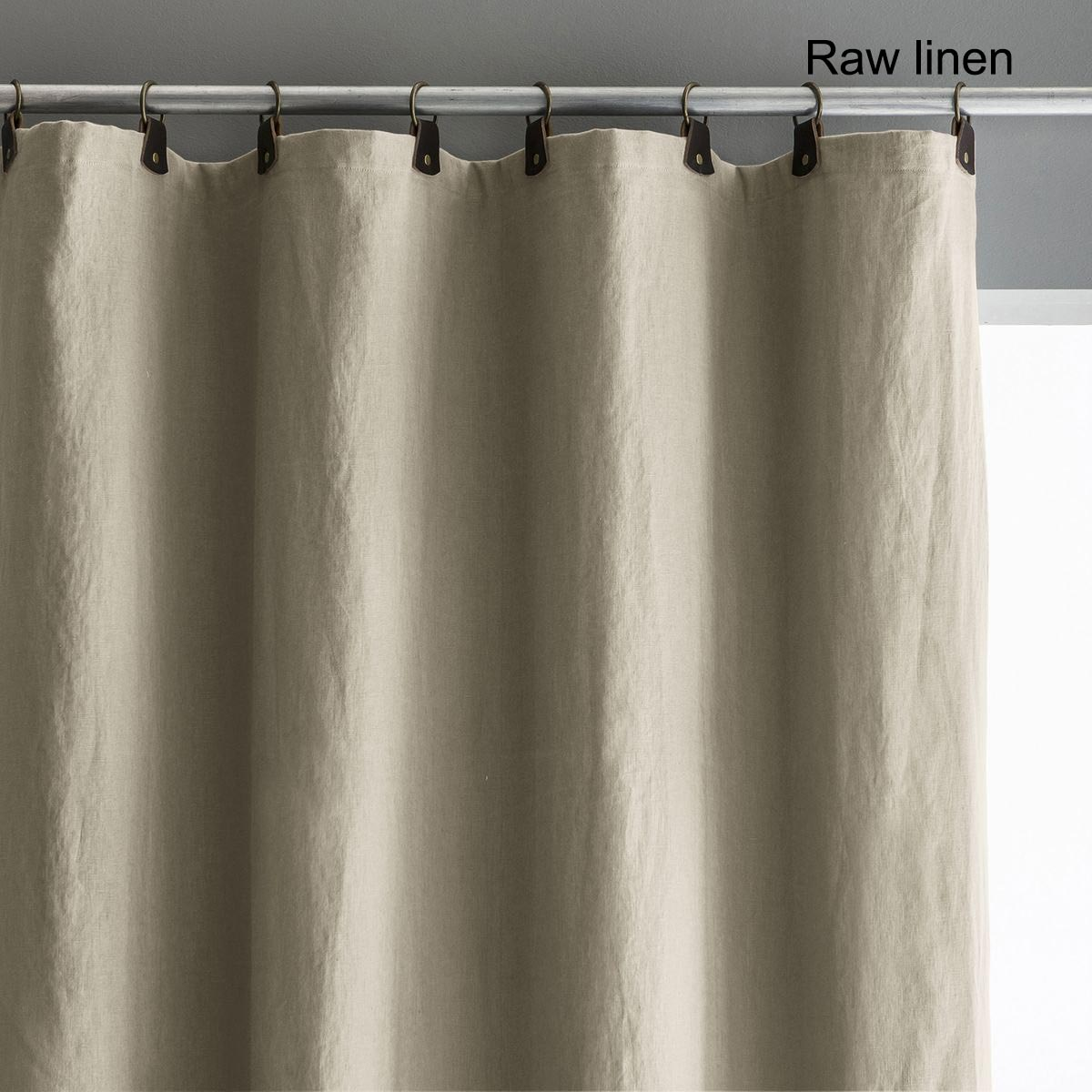 Private Single Pre-Washed Linen Curtain with Leather Tabs(裏地なし)