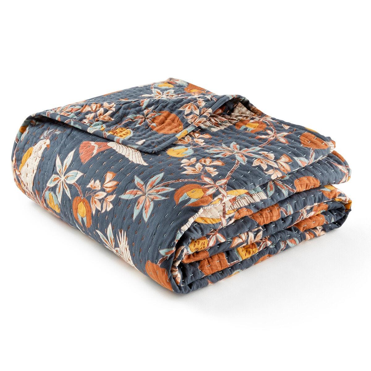 Letti カンタ刺繍 コットンボイル プリントベッドスプレッド