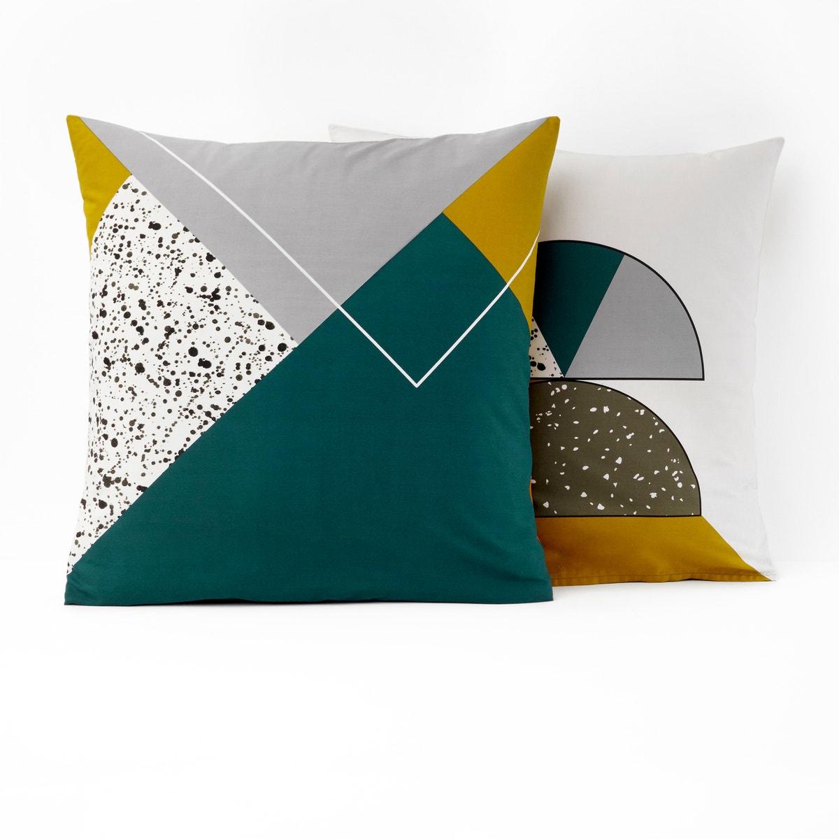 Hilda コットン 幾何学模様プリント枕カバー