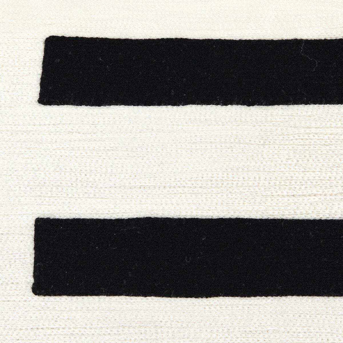 Stripy cotton cushion cover Black/White