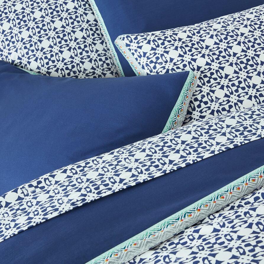 Yucatan Blue コットン タイルプリント掛け布団カバー