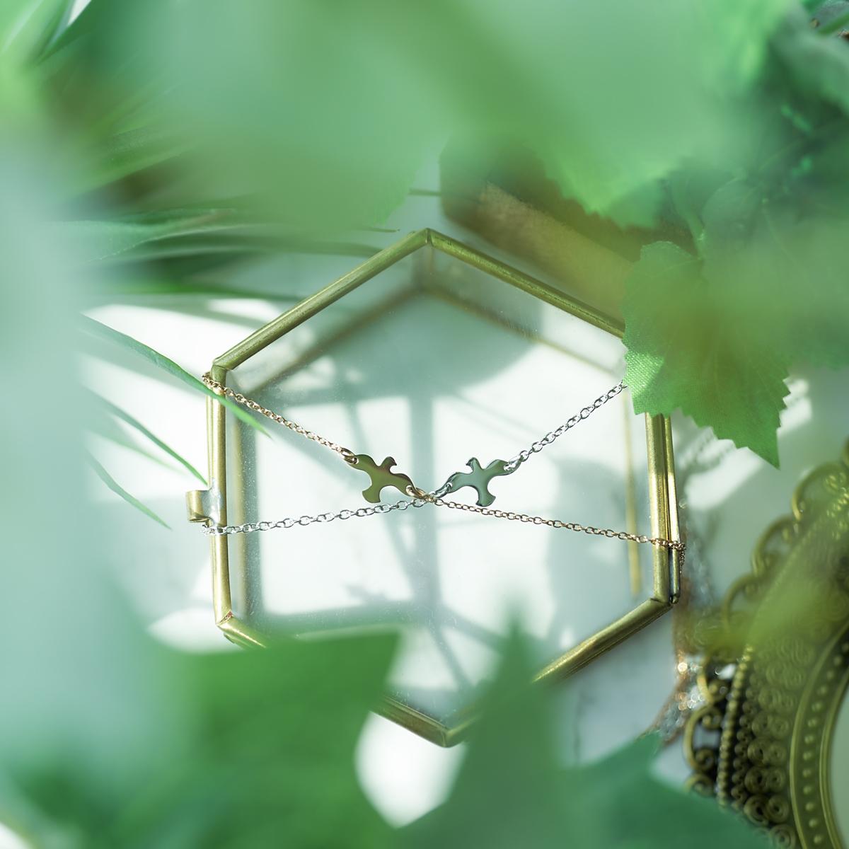 Lauss 幸運の小さなハト カップルバードのネックレス/ブレスレット/アンクレット イニシャル彫刻 ステンレス opp00070 (長方形パッケージ)conpact