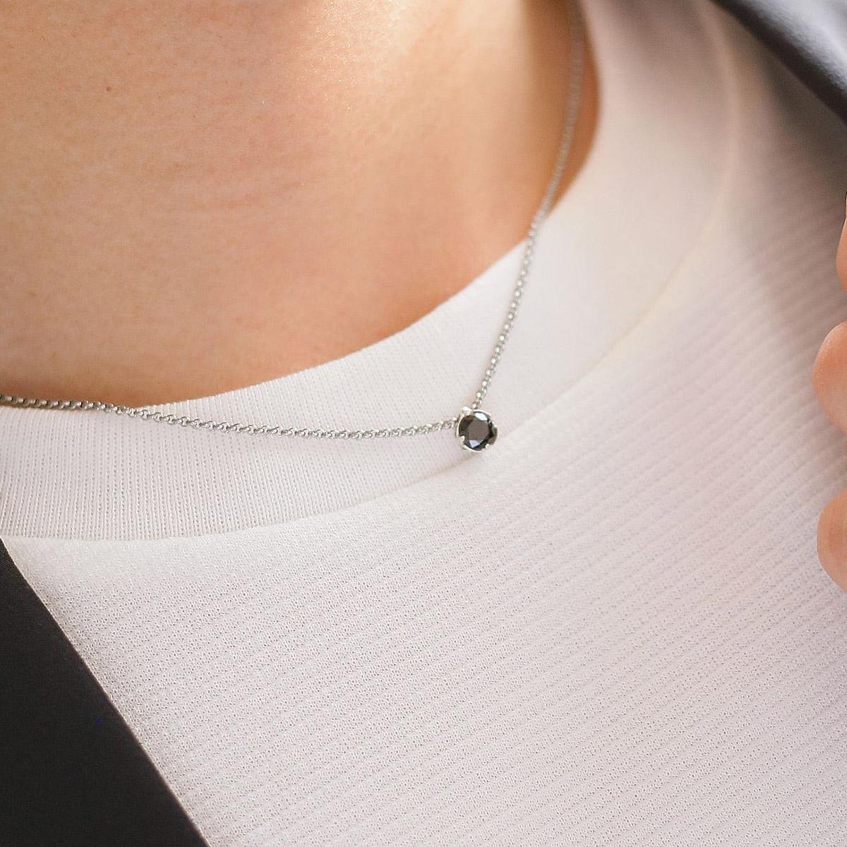 Lauss ペア ネックレス 大粒 最上級 スワロフスキー・ジルコニア ソリテールネックレス K10 & 316L ペアジュエリー opp00041 (長方形パッケージ)conpact