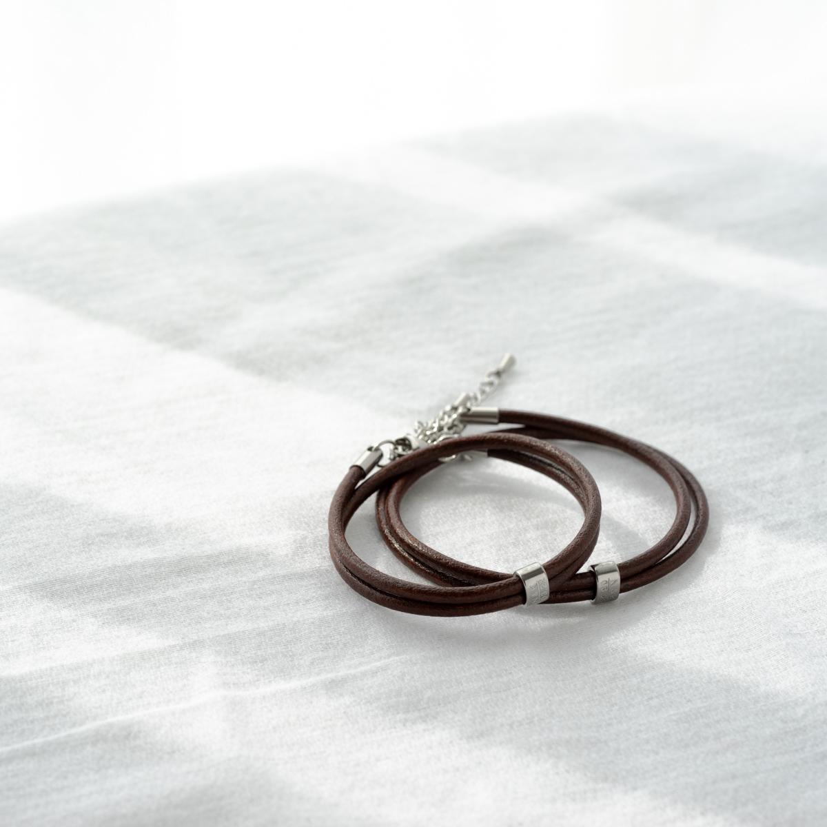Lauss イタリアンレザー 2重巻きペアブレスレット イニシャル・記念日彫刻 klb041 conpact