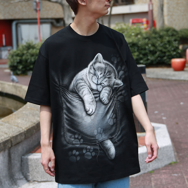 蓄光プリント寝落ちキャットTシャツ【ペア対応】