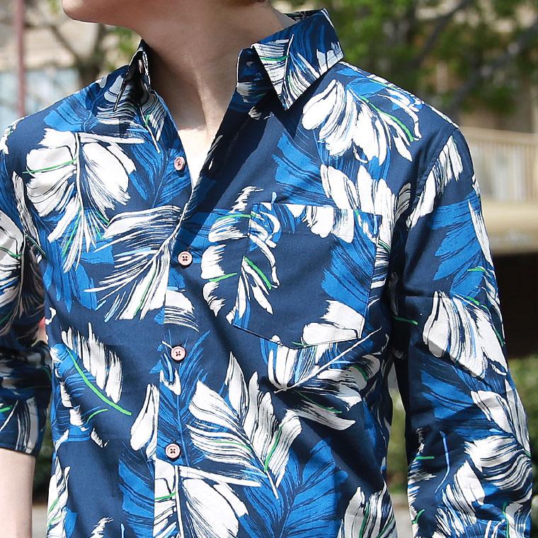日本製ボタニカル7分袖シャツ