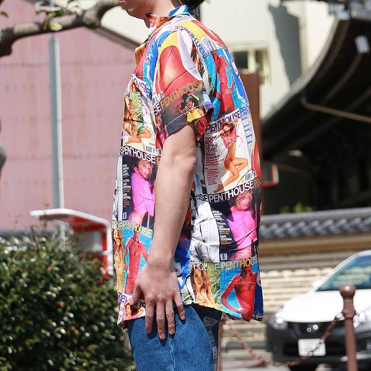 マガジンプリント総柄半袖シャツ