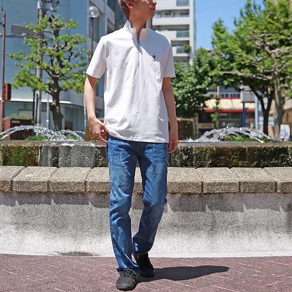 バックスカルプリント半袖ジップポロシャツ