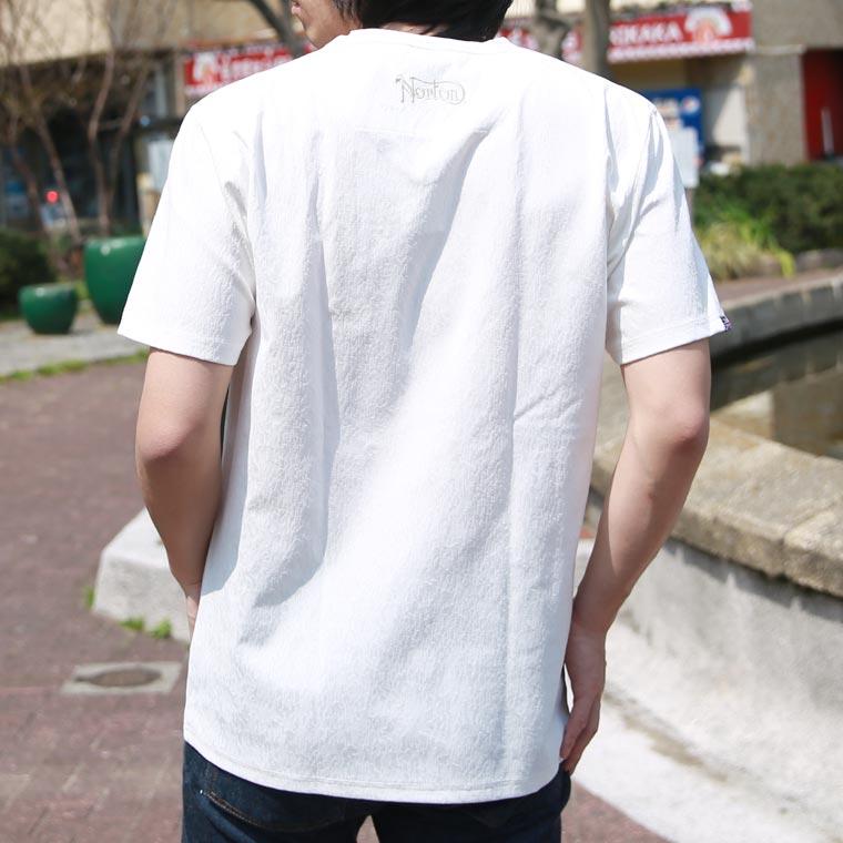 吸水速乾グランジジャガードVネック半袖Tシャツ【ノートン】