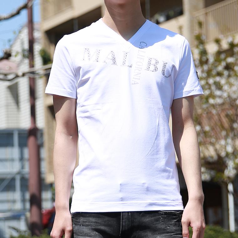 プリント入りVネック半袖Tシャツ