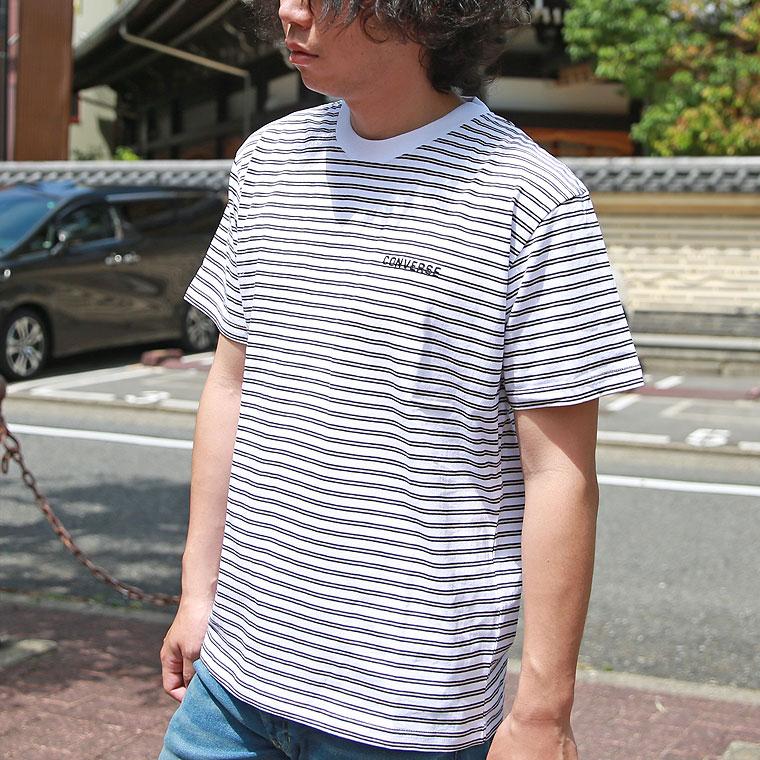 コンバースボーダー半袖Tシャツ【ペア対応】