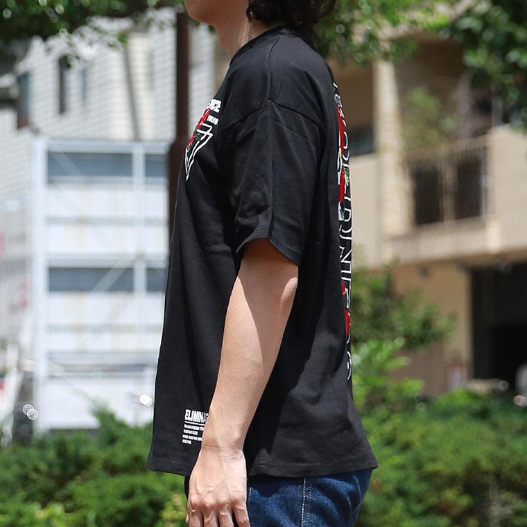 ローズ刺繍ルーズTシャツ【ペア対応】