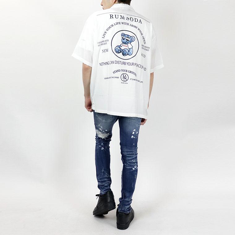 ベアプリント入りオープンカラー半袖シャツ