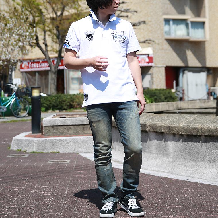 吸水速乾ブルースチールワッペンポロシャツ【ノートン】