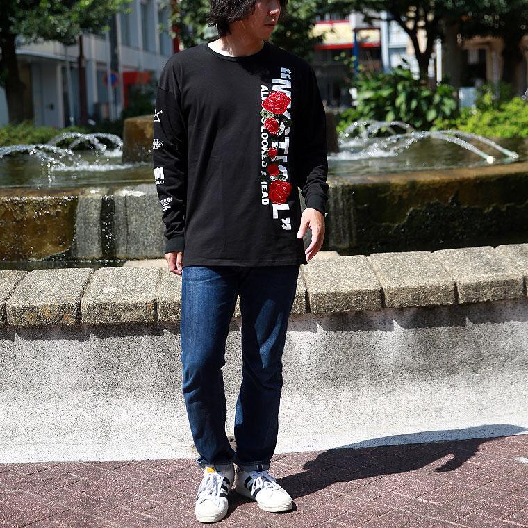 ローズ刺繍長袖Tシャツ
