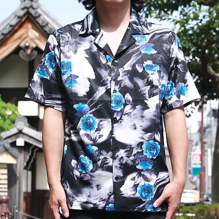 ダークフラワー開襟シャツ【ペア対応】