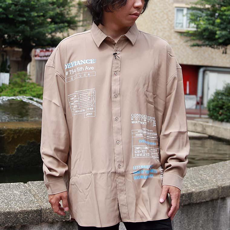 ロゴ貼付長袖BIGシャツ