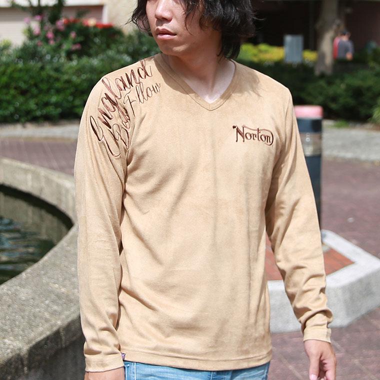フェイクスウェードVネック長袖Tシャツ