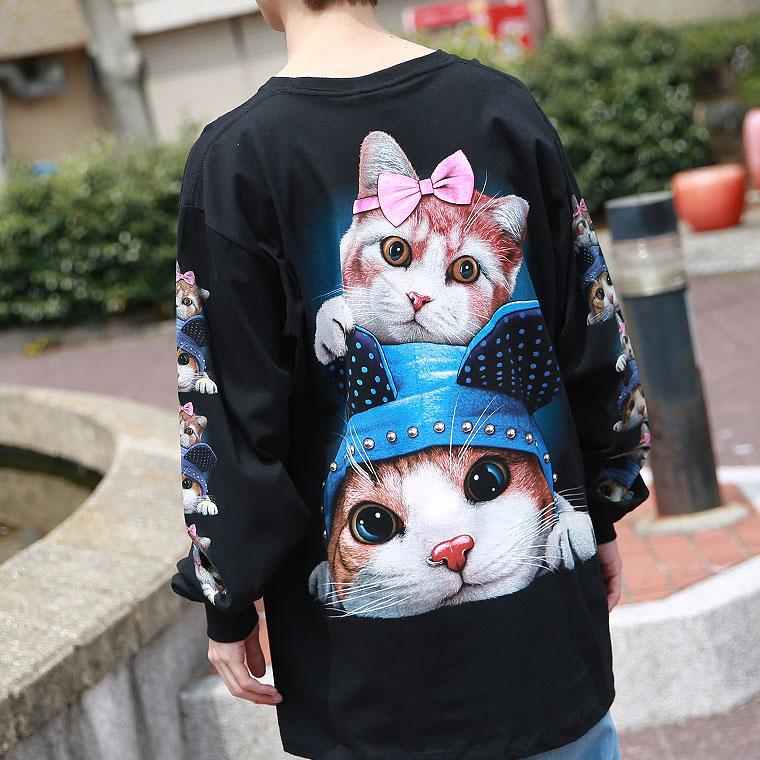 蓄光プリントおんぶキャットTシャツ