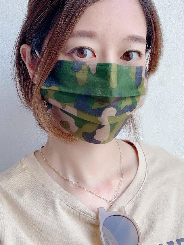 迷彩柄不織布3層ファッションマスク(各色×3枚計9枚入)