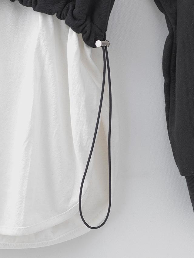 【韓国発】レイヤード風裾くしゅショートパーカーセットアップ