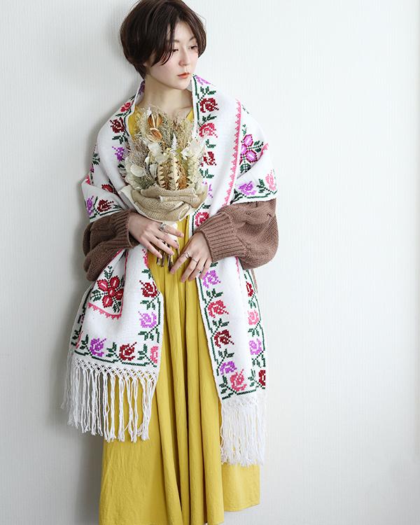 tesoro / メキシカンクロスステッチストール S / ホワイト1