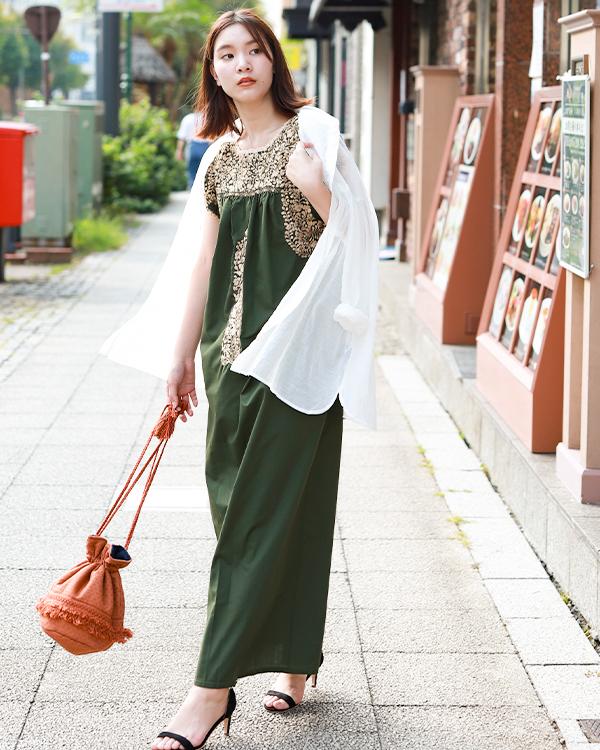 tesoro / サンアントニーノ刺繍ロングワンピース / モスグリーン