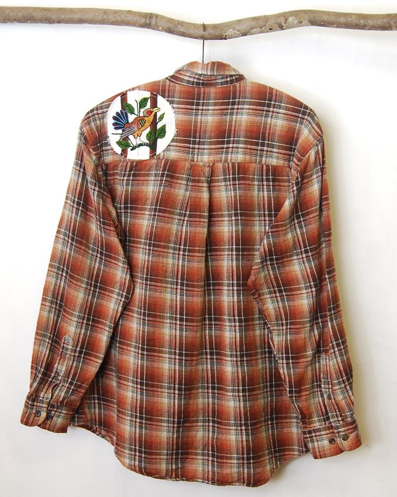 tesoro / remake・刺繍ワッペンチェックシャツ