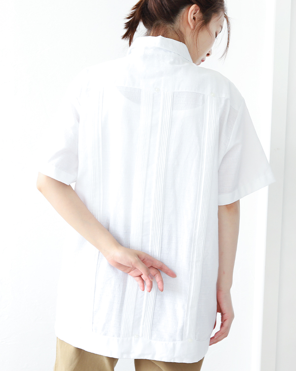 tesoro / キューバシャツ / ホワイト×ゴールド