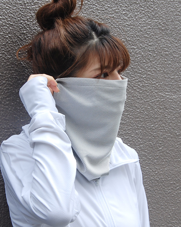 shanti / 【冷感フェイスガード・スポーツマスク におすすめ】濡らしてひんやりUVケアネックカバー / グレー [メール便対象品]